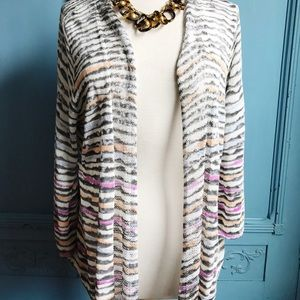 Nic and Zoe pastel striped open weave cardigan